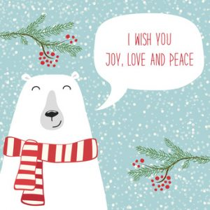 Cute hand drawn winter holidays card with polar bear and hand written text I wish you joy, love and peace on snowy background